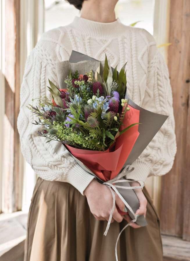 草花系 花束 ブルー&パープル S ナチュラルブーケ