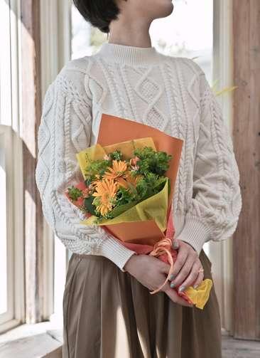ガーベラ 花束 オレンジ SS ナチュラルブーケ