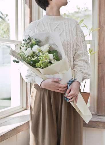 トルコキキョウ 花束 ホワイト S スタンダード