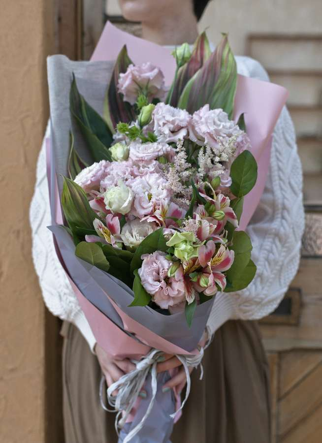 トルコキキョウ 花束 ピンク M スタンダード