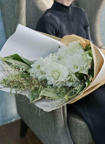 ダリア 花束 ホワイト L スタンダード