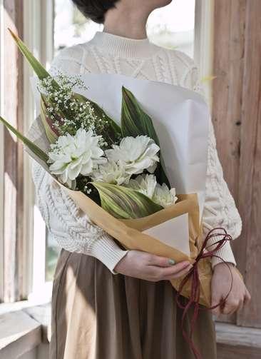 ダリア 花束 ホワイト S スタンダード