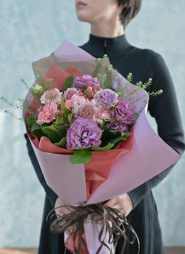 カーネーション 花束 ピンク L ナチュラルブーケ