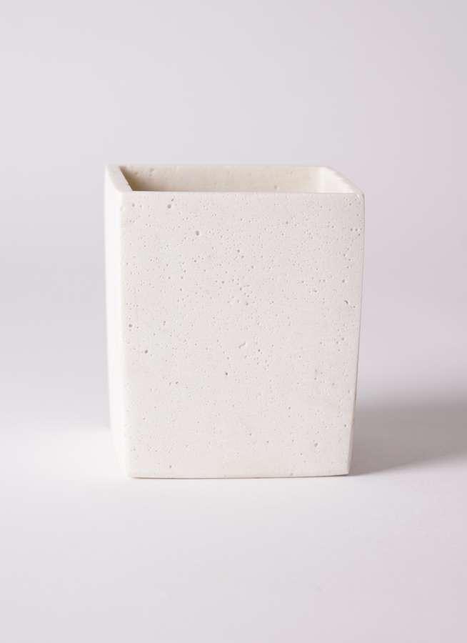 鉢カバー ポリストーンキューブSホワイト 3号鉢用