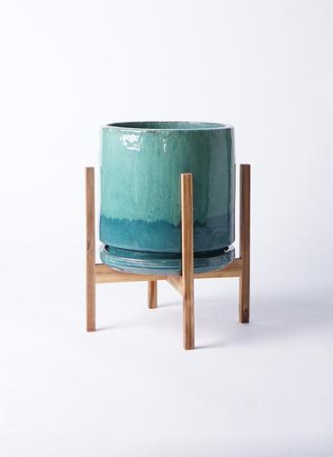 鉢カバー ビトロ エンデガ 8号鉢用 ターコイズ ウッドポットスタンド付き #KONTON VT-011T10P
