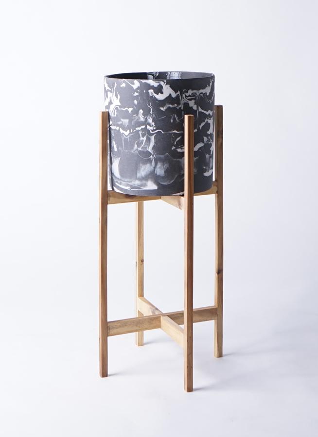 鉢カバー  ホルスト シリンダー 6号鉢用 マーブル ウッドポットスタンド付き