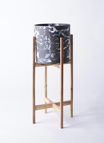鉢カバー ホルスト シリンダー 6号鉢用 マーブル ウッドポットスタンド付き #KONTON HO-R01M09V