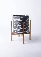 鉢カバー  ホルスト シリンダー 8号鉢用 マーブル ウッドポットスタンド付き #KONTON HO-R01M10V