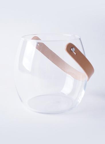 DESIGN WITH LIGHT (デザイン ウィズ ライト) ガラスポット H16cm レザーハンドル付き