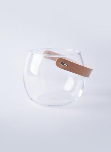 DESIGN WITH LIGHT (デザイン ウィズ ライト) ガラスポット H12cm レザーハンドル付き