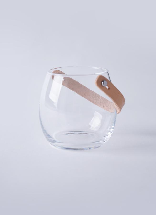 DESIGN WITH LIGHT (デザイン ウィズ ライト) ガラスポット H10cm レザーハンドル付き