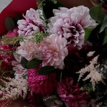 ダリア 花束 ピンク
