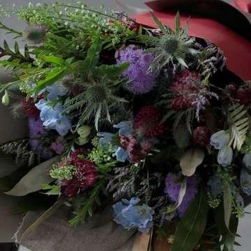 草花系 花束 ブルー&パープル