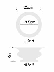 サイズ:外径 25cm、内径 19.5cm、高さ 9cm
