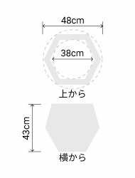サイズ:外径 48cm、内径 38cm、高さ 43cm